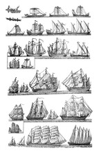 Sailingships Different Types Of Antique Sailing Ships / Vintage And Antique Illustration From Petit Larousse 1914