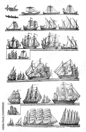 Sailingships different types of Antique sailing ships / Vintage and Antique illu Canvas Print