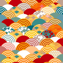 Seamless Pattern Scales Simple Nature Background With Japanese Sakura Flower, Rosy Pink Cherry, Wave Circle Pattern Orange Red Burgundy Teal Colors. Vector