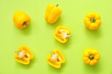 Yellow Bell Pepper On Color Ba...