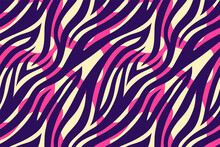 Trendy Color Abstract Tiger Pattern Background. Hand Drawn Pink And Violet Fashionable Wild Animal Skin Texture For Fashion Print Design, Cover, Banner, Wallpaper. Vector Illustration