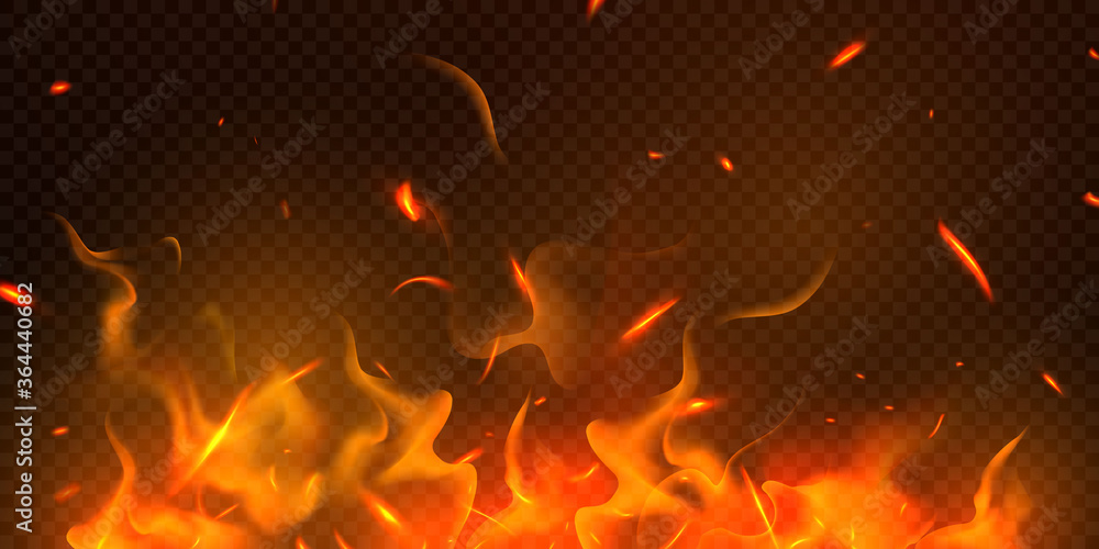 Fototapeta Burning red hot sparks realistic fire flames abstract background