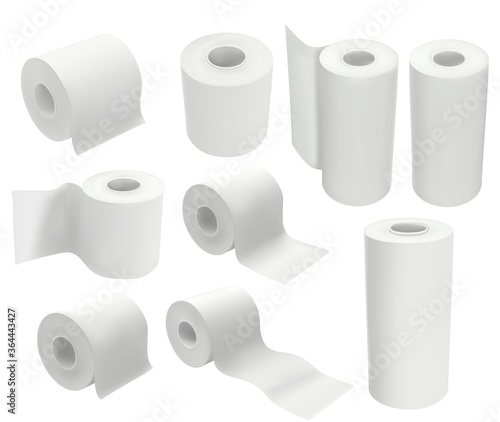 Fotomural Toilet paper roll isolated on white background