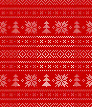 Christmas Nordic Pattern In Red And White. Embroidery Cross Stitch Scandinavian Motif Ornament Border With Snowflakes And Xmas Trees. Traditional Decorative Design For New Year Textile Print.