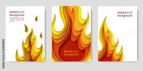 Fototapeta Set of white posters with fire
