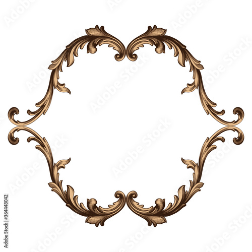 Fotografia, Obraz Vintage Ornament Element in baroque style with filigree and floral engrave the best situated for create frame, border, banner