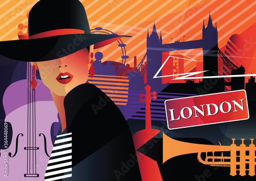 Fashion woman in style pop art in London. Wallpaper Mural