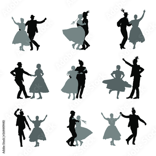 Hungarian csardas folk dancers couple in love vector silhouette Fototapet