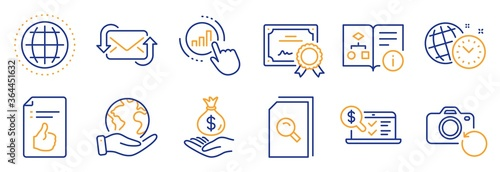 Fototapeta Set of Education icons, such as Refresh mail, Globe. Certificate, save planet. Graph chart, Approved document, Search files. Income money, Technical algorithm, Recovery photo. Vector obraz