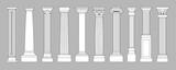 Ancient pillars. Classic historical roman column, antique architecture greece different columns, architectural line style vector set