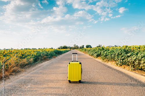 Fotografering yellow suitcase on a road with sunflowers.