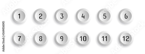 Slika na platnu Button Set With Number Bullet Point From 1 To 12 - Vector Illustration - Isolate