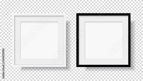Photo Realistic Black Blank and White Picture Frame, hanging on a Wall from the Front Canvas