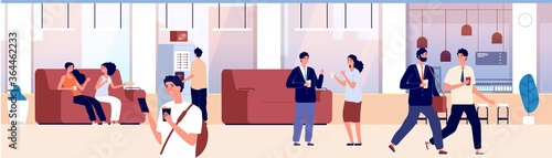 Fototapeta Common area. Waiting room, hall of office or shopping center. People drink coffee tea and talk. Place for communication, hostel hotel lounge vector illustration. Coffee room office for communication obraz