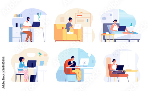 Home office. Work from house, woman man working. Isolation period or quarantine, people with computers interior vector set. Quarantine workplace at home, communication and freelance illustration