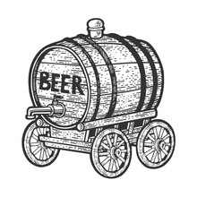 Barrel Of Beer On Wooden Cart Sketch Engraving Vector Illustration. T-shirt Apparel Print Design. Scratch Board Imitation. Black And White Hand Drawn Image.