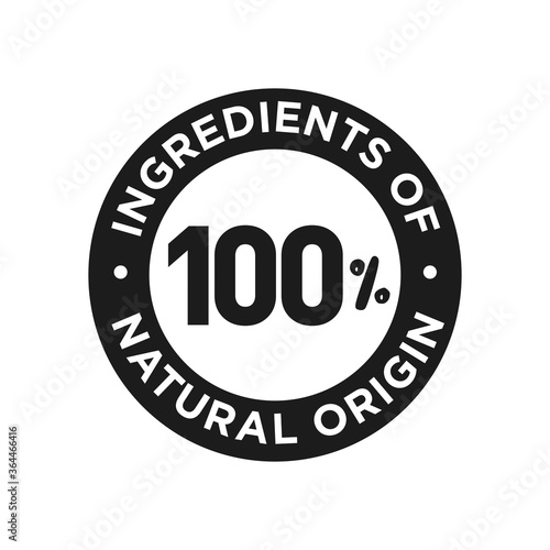 Obraz na plátně 100% ingredients of natural origin icon