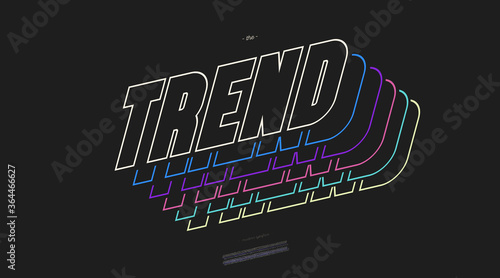 Fototapeta Vector trend font 3D bold line style modern typography for decoration, logo, poster, t shirt, book, card, sale banner, printing on fabric, industrial