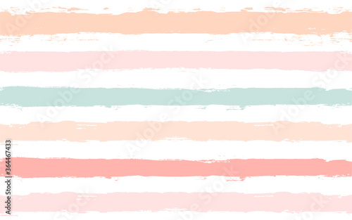 Hand drawn striped pattern, pink, orange and green girly stripe seamless background, childish pastel brush strokes Wallpaper Mural