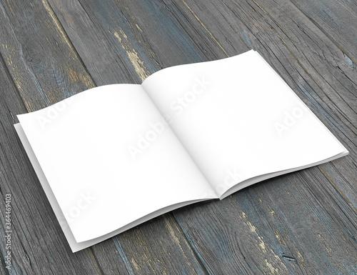 Open soft-cover book on a wooden table. 3D rendering. Billede på lærred