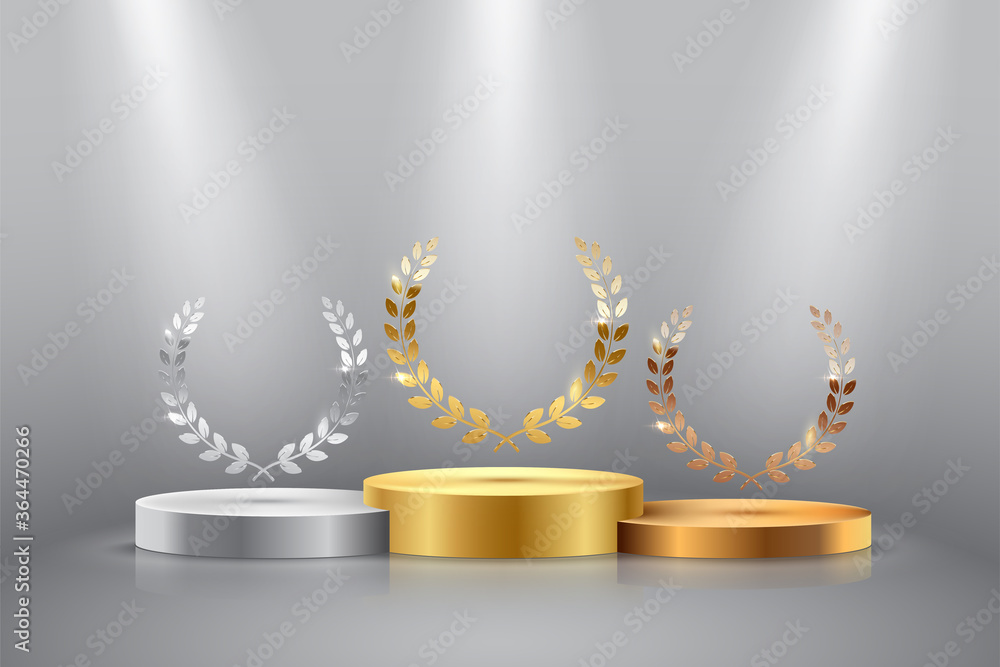 Fototapeta Winner background with golden, silver and bronze laurel wreaths with ribbons on round pedestal isolated on gray background. Vector winner podium sports symbols.