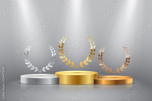 Foto Winner background with golden, silver and bronze laurel wreaths with ribbons on round pedestal isolated on gray background