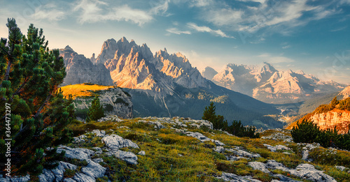 Scenic image at alps during sunrise Fotobehang