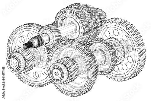 Fototapeta Outline gearbox concept. 3D illustration obraz