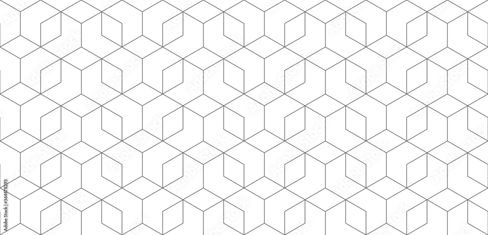 Fototapeta Vector seamless cubic hexagon pattern. Modern stylish thin linear texture.