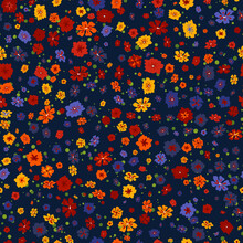 Vector Seamless Pattern With Small Scattered Flowers On Black. Liberty Style Wallpapers. Elegant Floral Background. Simple Ditsy Texture. Repeatable Design For Decor, Textile, Fabric, Fashion Print