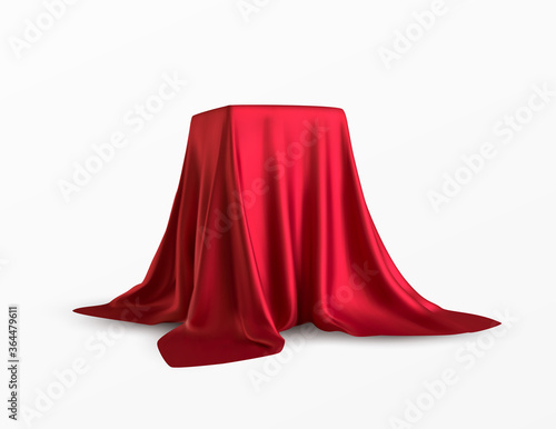 Realistic box covered with red silk cloth Canvas Print