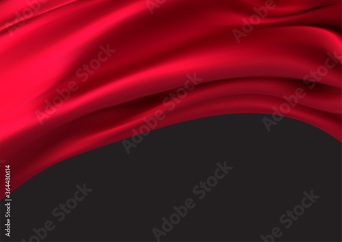 Background of luxurious red fabric or liquid wave or wavy folds of silk texture of satin velvet material, luxurious background or elegant wallpaper Fototapet