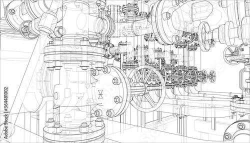 Obraz Sketch of industrial equipment - fototapety do salonu