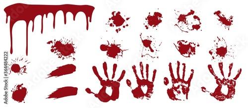 Valokuva Bloody spray and handprints