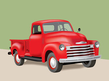 Vintage Pickup Truck On Illust...
