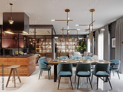 Obraz Large modern dining table in a trendy style, dining area in a studio apartment. Wooden table top, fabric blue chairs. - fototapety do salonu