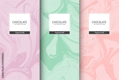 Fototapeta Chocolate bar packaging set. Trendy luxury product branding template with label pattern for packaging. Vector design... obraz