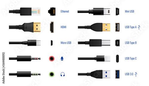 Fotomural Computer Ports Connectors Set