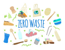 Zero Waste Concept With Durable, Reusable And Eco Friendly Items.Bags, Menstrual Cup, Thermo Cup, Baby Bottle, Solid Soap And Shampoo, Kitchen Brushes,loofah, Tooth Brush, Glass Jar, Straw,shoe Covers
