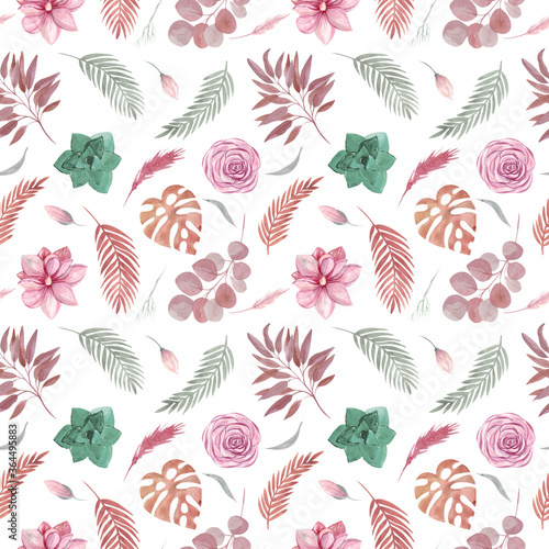 Fotomural Seamless pattern of floral elements on a white background Boho dried plants and