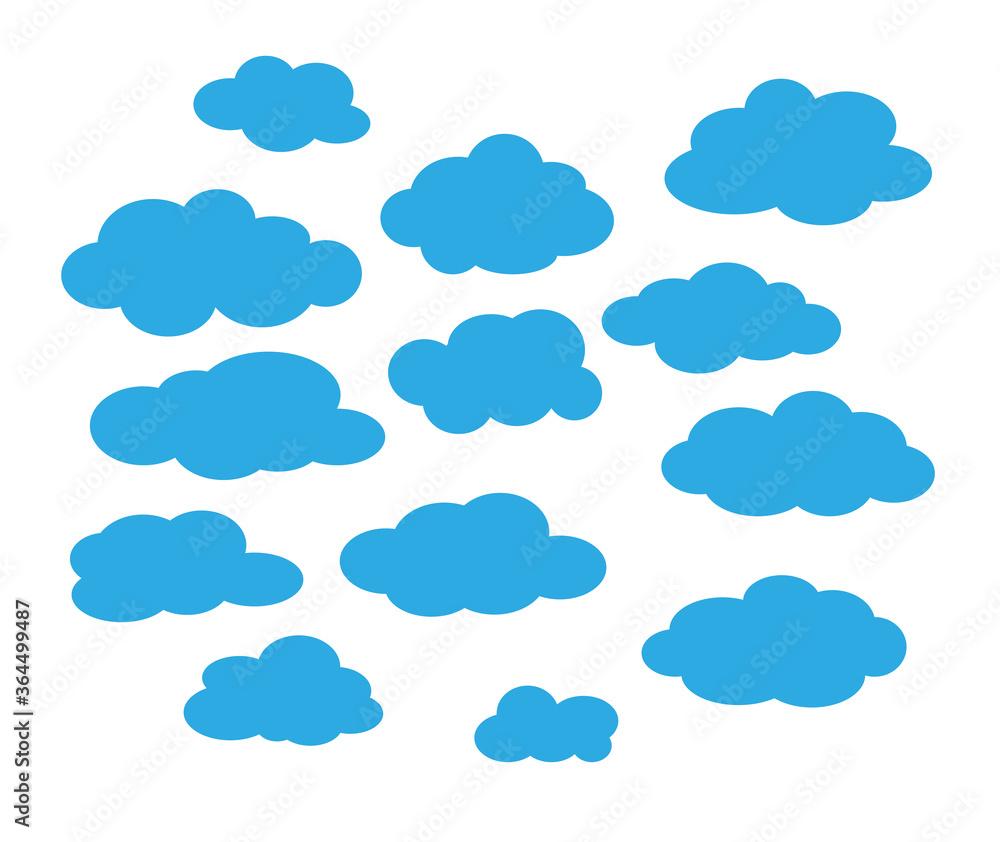 Fototapeta blue cloud, cartoon illustration vector white background