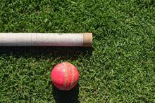 Cricket Ball On Grass. Red Bal...