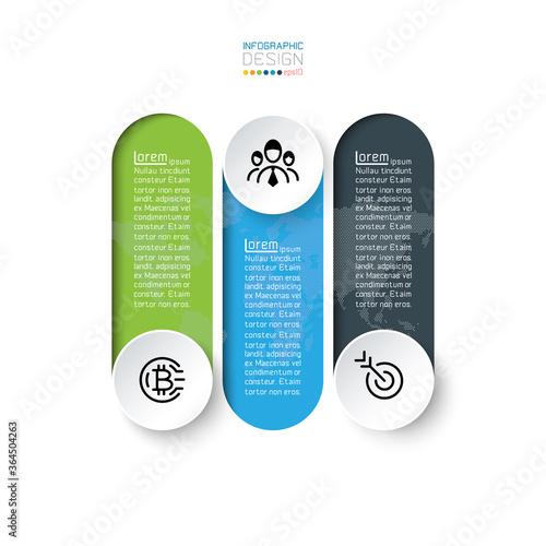 Fototapeta Strategy marketing business processing infographic 3 options presentation on vector design. obraz na płótnie