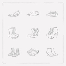 Set Of Shoe Types Icons Line Style Symbols With Gladiator Boots, Ankle Strap Shoes, Kitten Heel Shoes And Other Icons For Your Web Mobile App Logo Design.