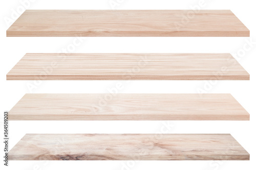 Collection of vintage wooden tabletop or wood shelf isolated on white background. Object with clipping path.