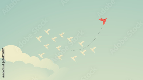 red bird changing direction and white ones Canvas Print