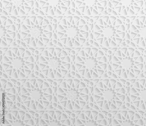 Fotografija Seamless symmetrical abstract vector background in arabian style made of emboss geometric shapes with shadow