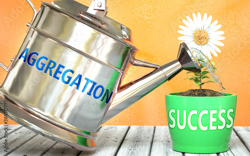 Aggregation helps achieve success - pictured as word Aggregation on a watering c Canvas Print