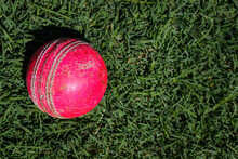 Red Cricket Ball Isolated.