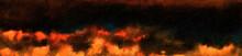 Burning Flame Landscape. Water...